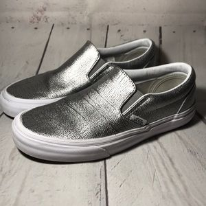 Vans Slip On Shoes Sneakers Silver Size 6